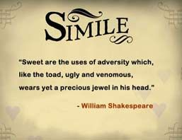 """what is simile?  A simile is a figure of speech that directly compares two things through some connective word, usually being """"like"""", """"as"""", """"than"""", or a verb such as """"resembles"""". A simile differs from a metaphor in that the latter compares two unlike things by saying that the one thing is the other thing. For  further details visit www.microlifeindia.org"""