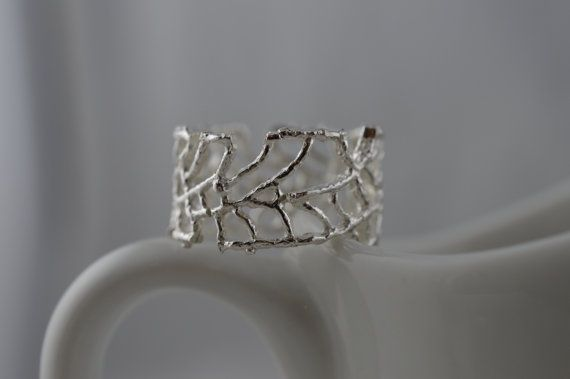 Sterling Silver Wide Open Weave Web Ring by ArbotiqueDesigns
