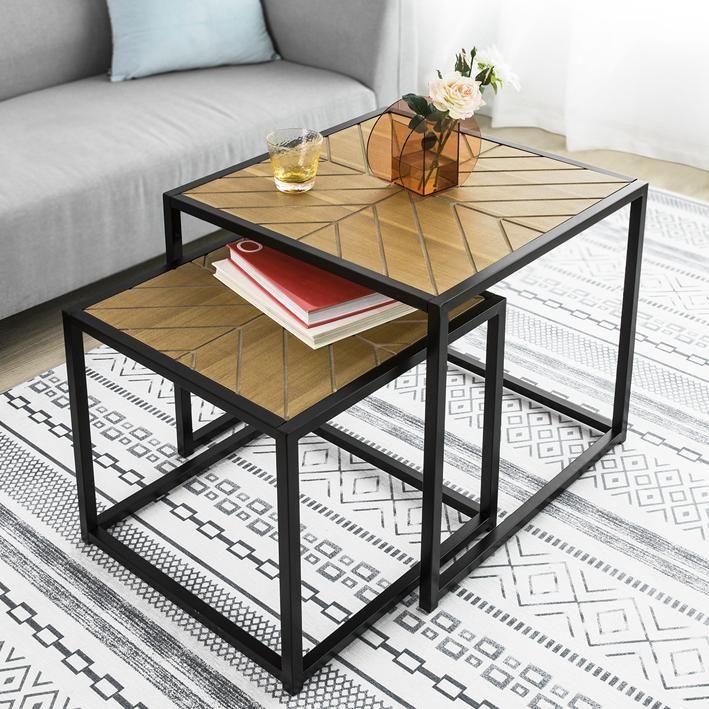 Set 2 tavolini impilabili Basso da Soggiorno Stile