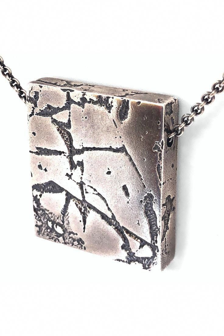 Oxidized silver statement pendant necklace unique handmade silver