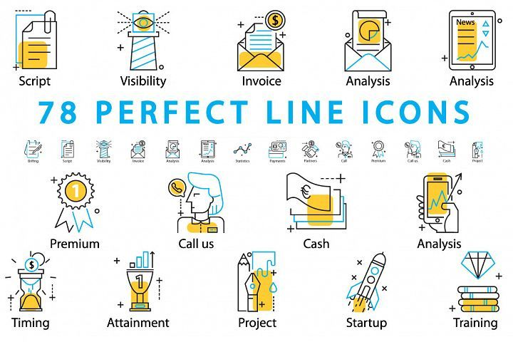 78 PERFECT LINE ICONS from DesignBundles.net