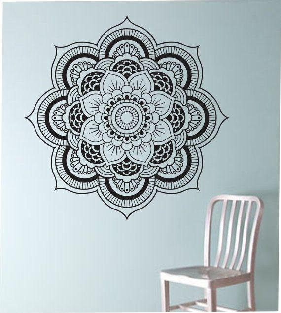 Mandala Wall Decal Flower namaste Vinyl Sticker Art Decor Bedroom Design Mural flower Buddha namaste yoga living room