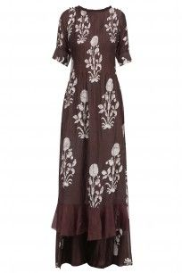 Coffee Floral Printed Double Layered Long Dress #myoho #ethnic #shopnow #ppus #Happyshopping
