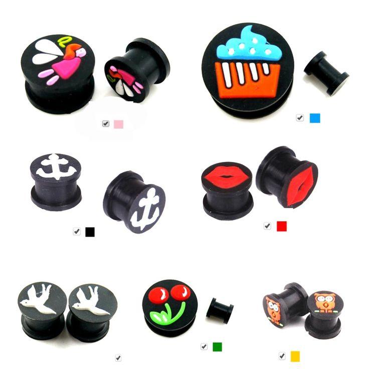 2 PCS Silicone Ear Plugs Tunnels Anting Pengukur Tindikan Fleksibel Silicone Berongga Telinga Expnder Tandu Plugs Body Jewelry