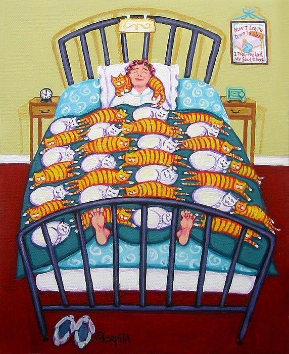cats on the bed, Rebecca Korpita