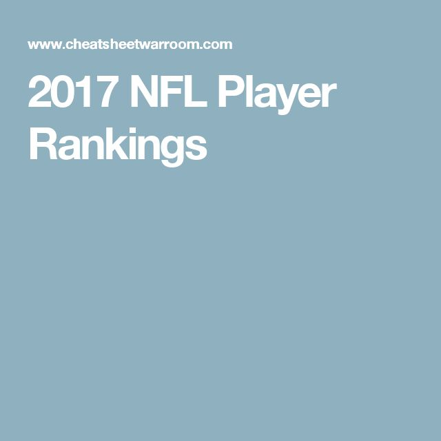 2017 NFL Player Rankings
