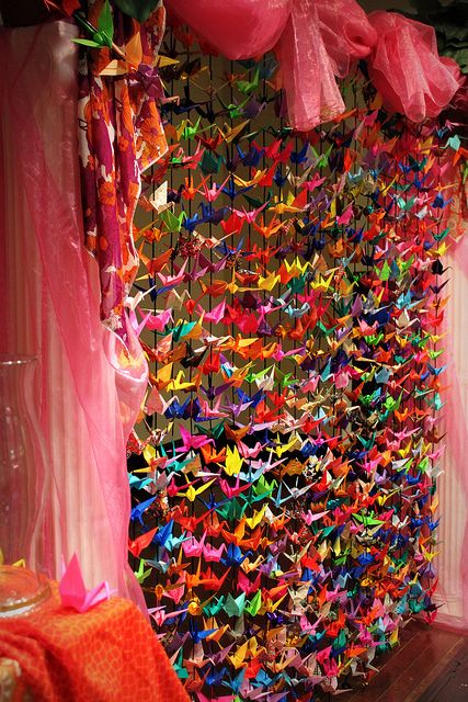 1000 origami cranes is a group of origami paper cranes held together by strings. An ancient Japanese legend promises that anyone who folds a thousand origami cranes will be granted a wish by a crane or some stories believe you are granted eternal good luck, instead of just one wish, such as long life or recovery from illness or injury.