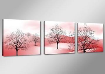 Nieuw * 3 Luik van Canvas * Abstract Bomen Bergen 50x150cm