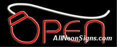 """Open Neon Sign-10598-5988  Open Neon Sign - Clever Neon Open Sign has a computer mouse on the """"O"""" of Open. Use it for a computer service business, retail or storefront and customers will figure out your specialty as soon as they see the bright lights. Choose black or clear Lexan Plexiglass background with optional flash options. Standard transformer included – or order the extra strength Hot Swap Transformer."""