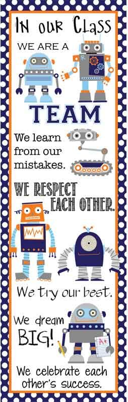 ROBOTS Theme Classroom Decor/ Character Education Banner / X-Large / In Our Class / JPEG / ARTrageous FUN