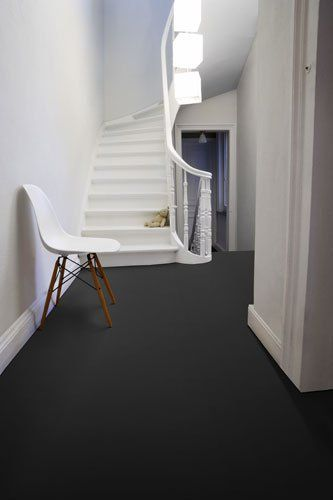 black floor white stairs, I want that too!