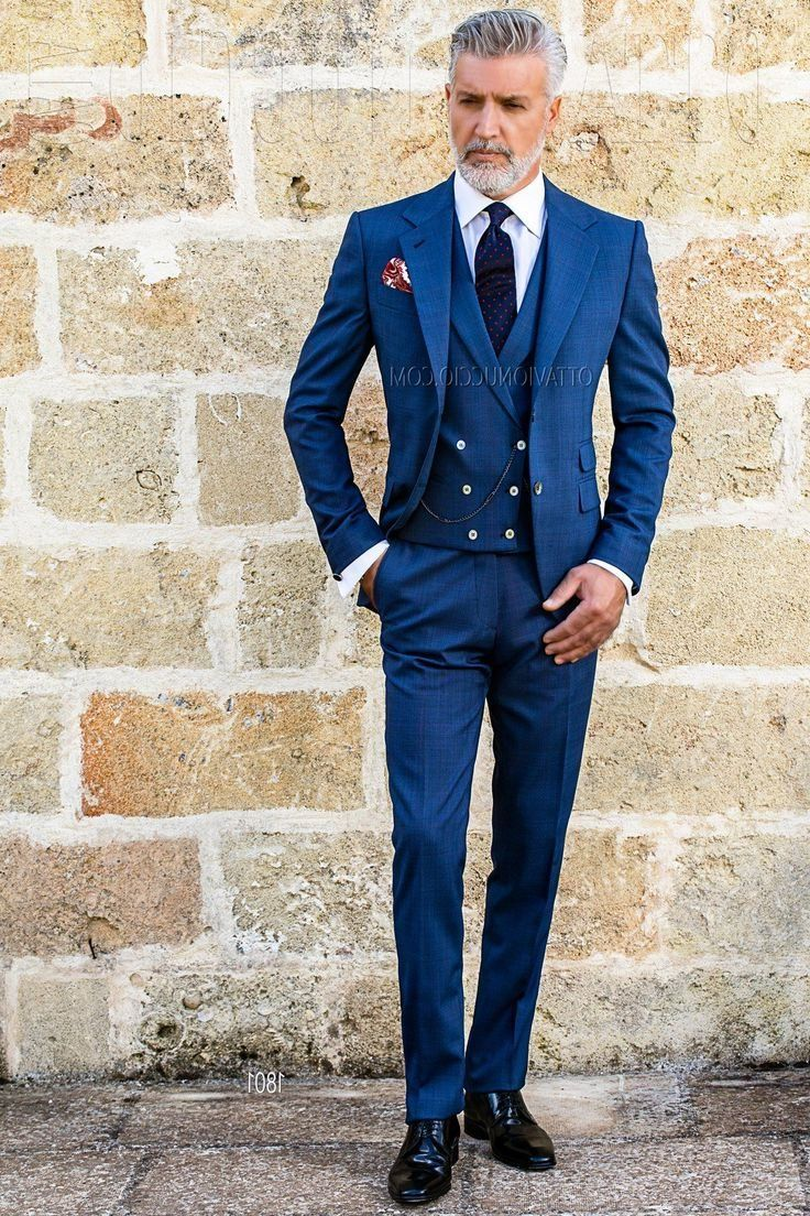 Blue wedding suits fit perfectly to a spring wedding
