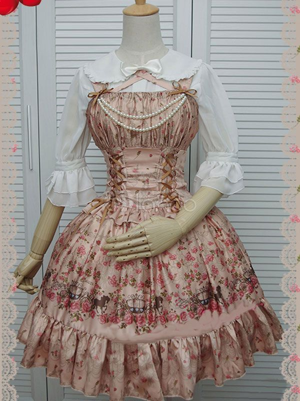 Print Lolita Dress Multicolor Beaded Synthetic Dress - Milanoo.com