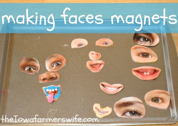 Making Faces Magnets using laminated pictures from magazines.