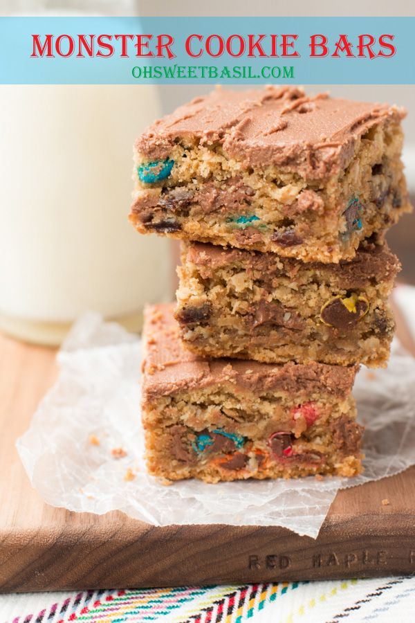 monster cookie bars! It's like lunch lady pb bars and monster cookies smashed together!
