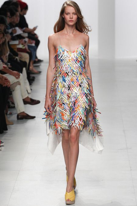 Chalayan | Spring 2014 Ready-to-Wear Collection - pretty woven colored strips, reminds me of dyed clothes pins all mashed together...