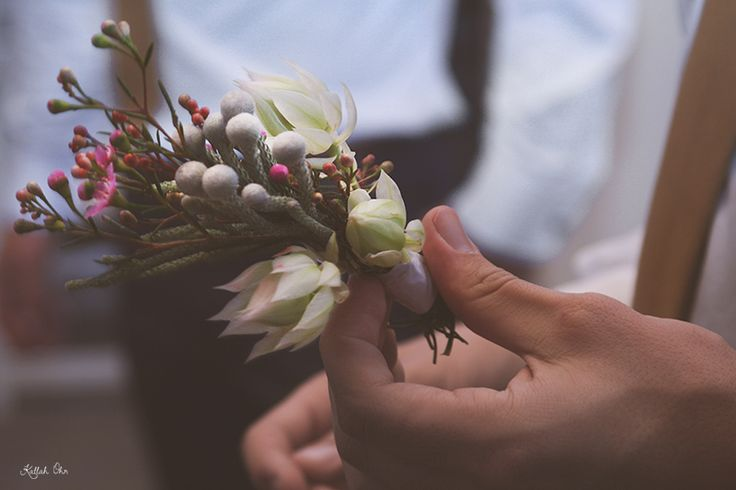 Rustic farm wedding at this country venue. Love the Fynbos boutonnieres. Tian  Telanie at Kilcairn Function Venue | Kallah Ohr Photography