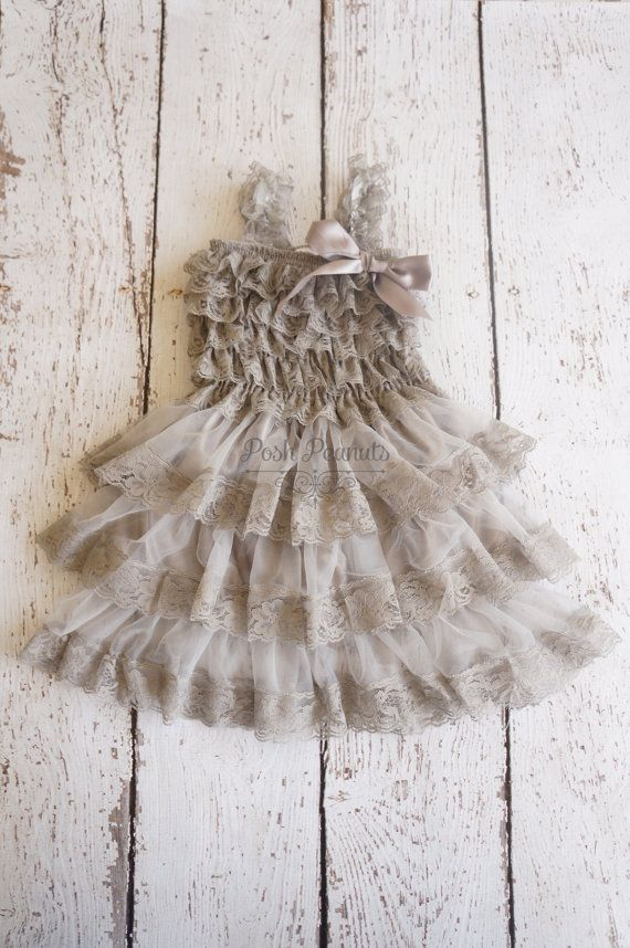 lace flower girl dress Silver flower girl dress by PoshPeanutKids