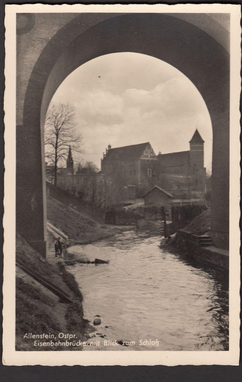 Allenstein O-Preussen ( Olsztyn ) Eisenbahnbrücke mit Blick zum Schloß de.picclick.com