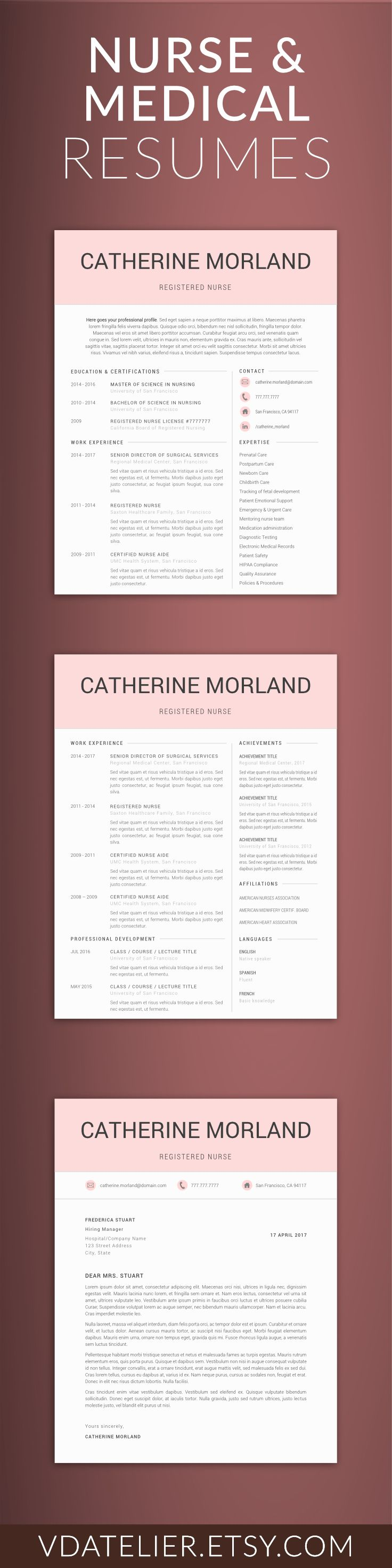 Medical Resume Word Template, Doctor/Nurse Resume Template | Professional Resume | RN Resume | US Letter & A4 | 1,2,3 Page Resume