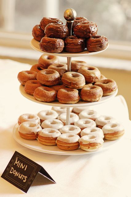 Mini donut display at a rustic wedding!  See more party ideas at CatchMyParty.com!  #partyideas #wedding