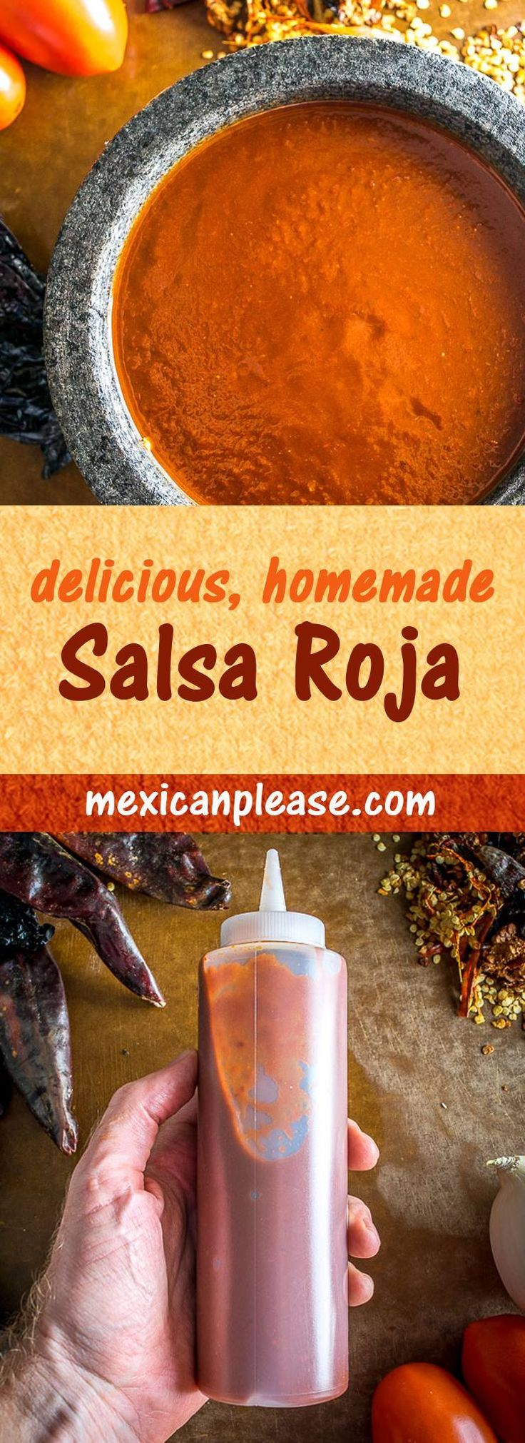 Salsa Roja is such a broad term these days. Here are the juicy details on two versions you can easily make at home. I use the Tomato Jalapeno version most often and it is delish -- all you need is tomato, jalapeno, onion, garlic, and salt. Just be sure to roast those tomatoes!  mexicanplease.com