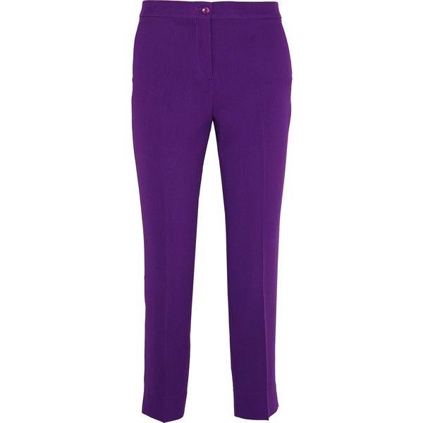 Etro Capri cropped crepe slim-leg pants (£295) ❤ liked on Polyvore featuring pants, capris, purple, slim leg pants, purple capris, crepe pants, cropped pants and capri trousers