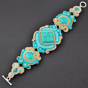 Soutache (Pronounced Soo-tash) bracelet.  Design based on handmade braided trim used to decorate borders of fabric