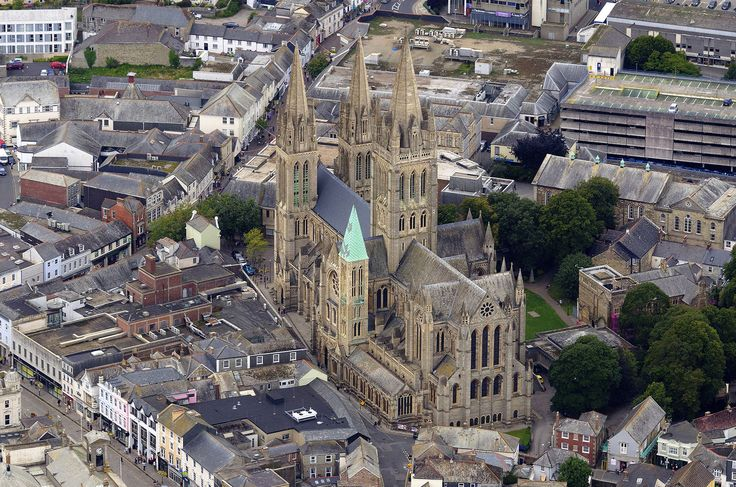 Truro Cathedral in Cornwall. Built 1880 - 1910 in the style of Gothic Revival.  One of only three cathedrals in the UK with three spires. The Cathedral of the Blessed Virgin Mary in Truro - UK aerial image by John Fielding #Truro #cathedral #aerial #cornwall