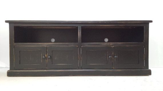 Black TV Stand / Wooden TV Console / Media by HarvestTreasuresInc