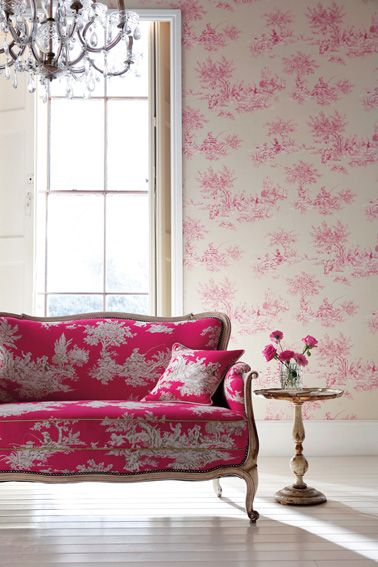 oh my!Beds Rooms, Living Rooms, Home Interiors, Pink Sofas, Pink Couch, Interiors Design, Pink Rooms, Hot Pink, Design Home