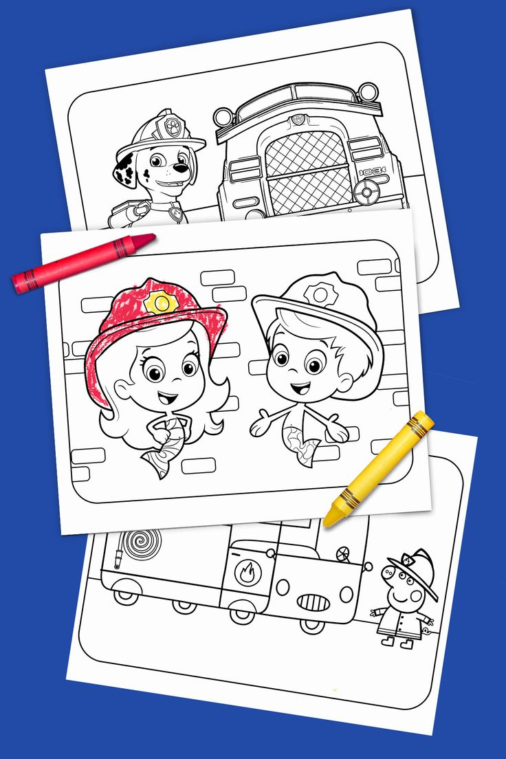 This free printable coloring pack celebrates Nick Jr.'s heroic, firefighting heroes like the bubble guppies, Blaze, Peppa Pig, and Marshall from PAW Patrol!