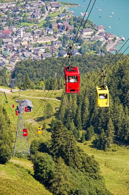 Ascent up Zwolferhorn by cable car from St. Gilgen, Austria