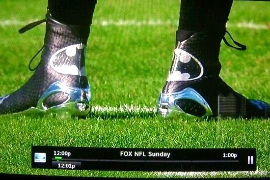 Photo: Cam Newton is wearing Batman cleats against Tampa Bay