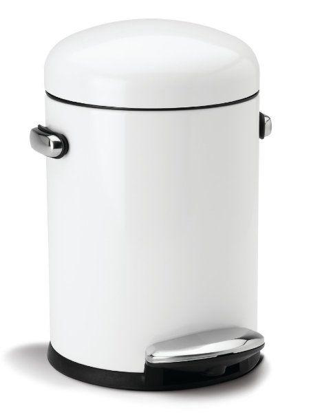simplehuman Round Retro Step Trash Can, White Steel, 4.5 L / 1.2 Gal