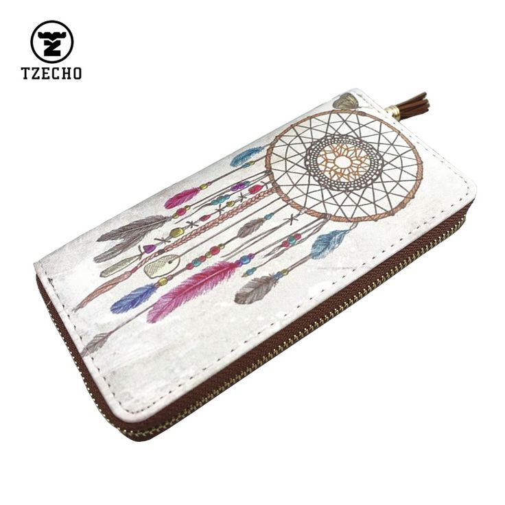 Fashion Zipper Arround Womens Wallets Leather PU Print Dream Catcher Long Ladies Money Purses Coin Pocket Card Holder Clutch Bag #womenwallets #wallet #purse