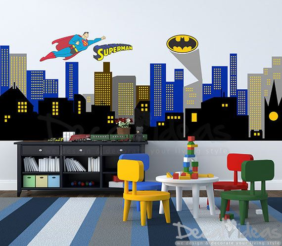 City Skyline Decal - Superman City Skyline wall Decal - Superhero Decal - Batman Emblem Decal-  Printed Wall Decal Sticker