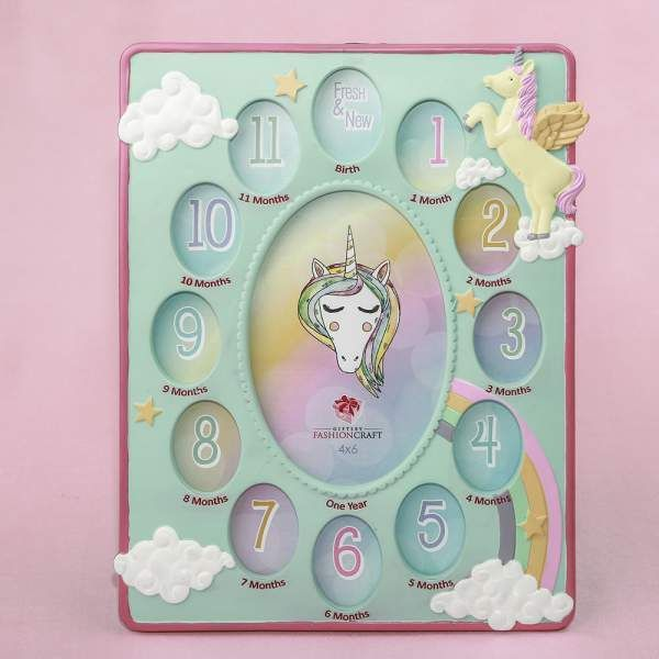 Hand Painted Unicorn Themed Baby Photo Collage Frame