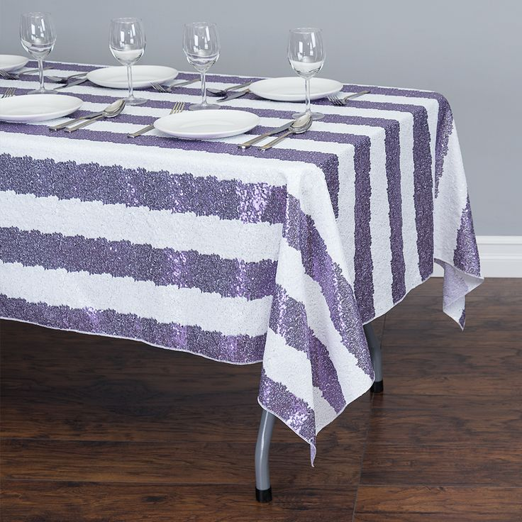 60 X 102 In Rectangular Sequin Striped Tablecloth Purple White Laven