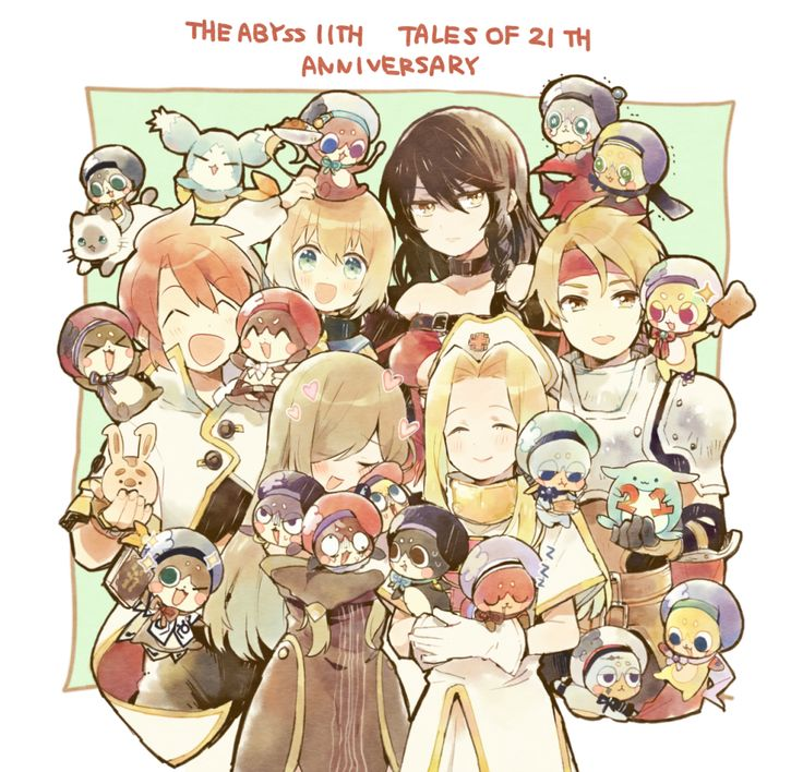 Cless & Mint (Tales of Phantasia), Luke & Tear (Tales of The Abyss) & Velvet & Laphicet (Tales of Berseria) with Normin (Tales of Zestiria) and Mieu (Tales of the Abyss)