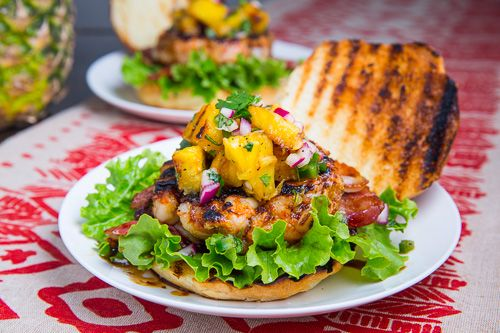 Teriyaki Shrimp Burgers with Grilled Pineapple Salsa, Bacon and Blue ...