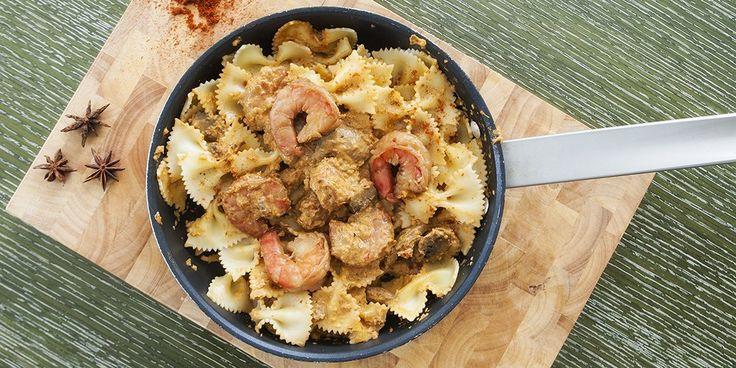 Φαρφάλλες με γαρίδες, ούζο, staranice  και πάπρικα