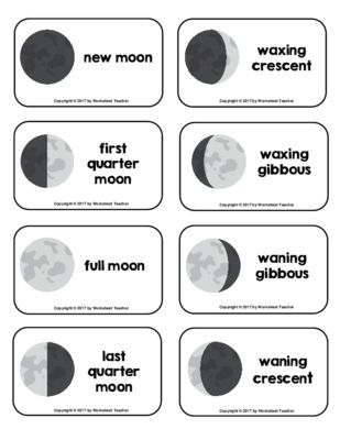 Phases Of The Moon Picture Word Flash Cards 0 99