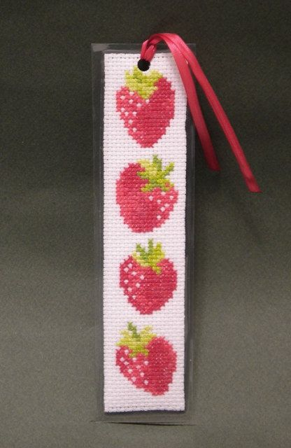 Cross Stitch Pattern, Strawberry Bookmark, by Ogusstudio on Etsy