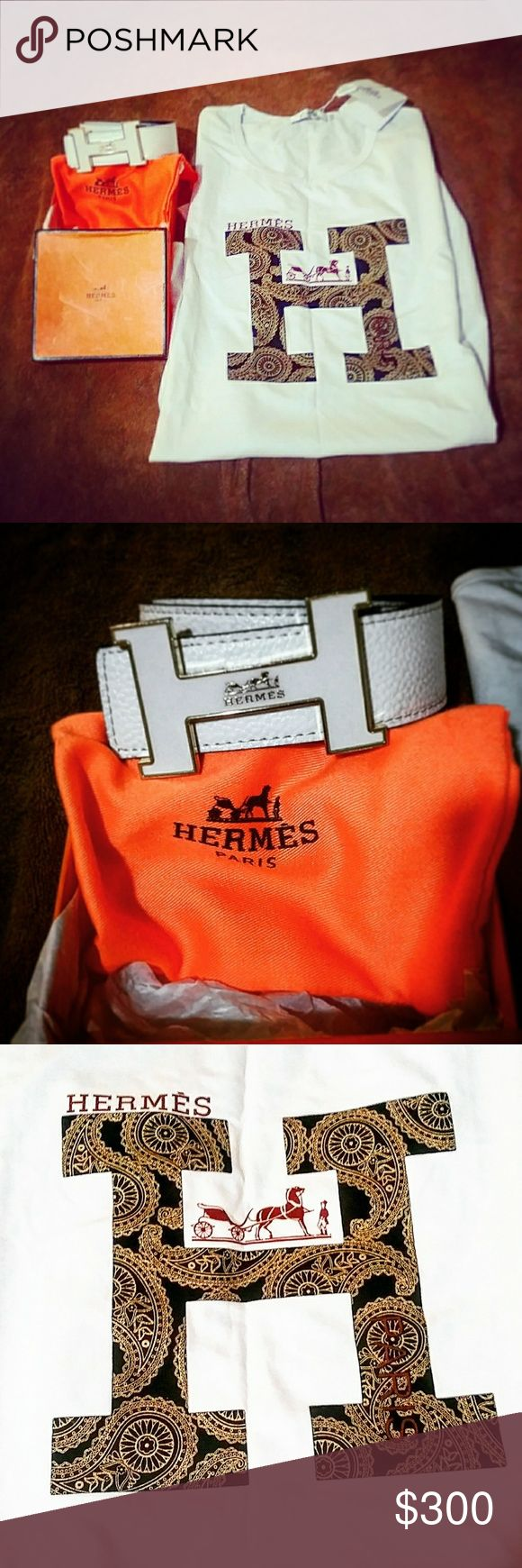 Hermes T-Shirt original logo with Whte Belt The T-Shirt White with golden bandana print Hermes logo an White leather Hermes White H buckle real leather engraved to show authenticity also on T-Shirt with tag still applied no wear. Package Deal price 350$ Belt 200$ solo T-Shirt 175$ solo Hermes Shirts Tees - Short Sleeve