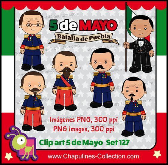 60% desc. Clipart 5 de Mayo, clipart para escuela, historia de México, Batalla de Puebla, Ignacio Zaragoza Set 127