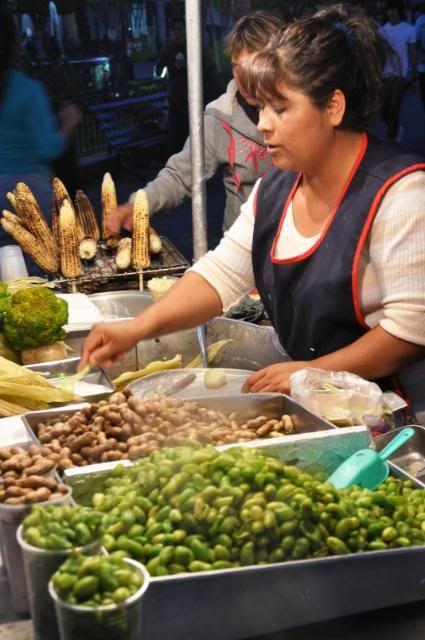 Guadalajara, street vendor selling steamed corn, peanuts and chick peas... yummy!!!