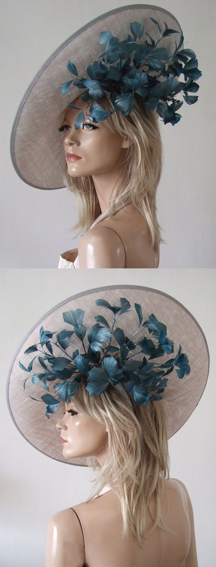 Silver Teal Feathered Tilted Slice Hat from Dress-2-Impress Hat Hire. Ascot Hats. Hats for the Races, Mother of the Bride Hats. Handmade and available to hire. Or have your own made for you in other colours to match your outfit. Contact via the email on website. #ascot #royalascot #hats #millinery #hathire #motherofthebride