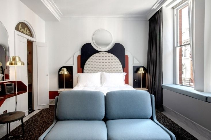 Henrietta-hotel-guest-room-london-designed by Dorothee Melichzon with dramatic architectural headboards. Karel-balas-photo.