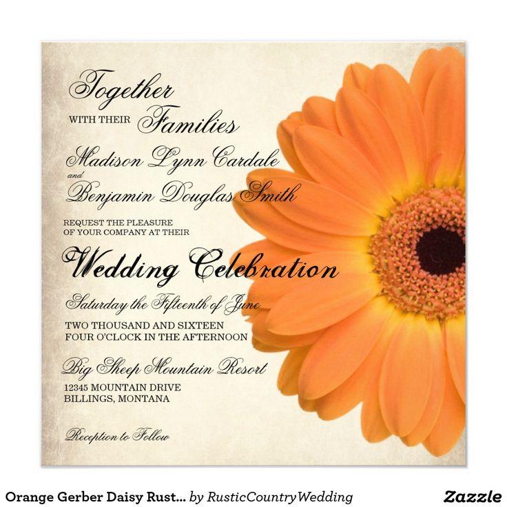 Orange Gerber Daisy Rustic Country Wedding Invites